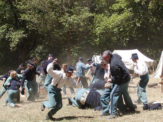 fighting in a field