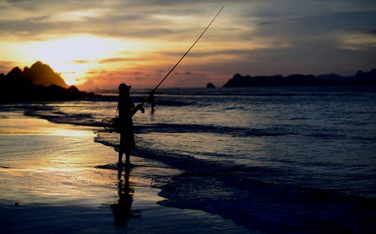 person fishing at ocean