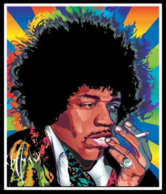 Jimi Hendrix and smokin'