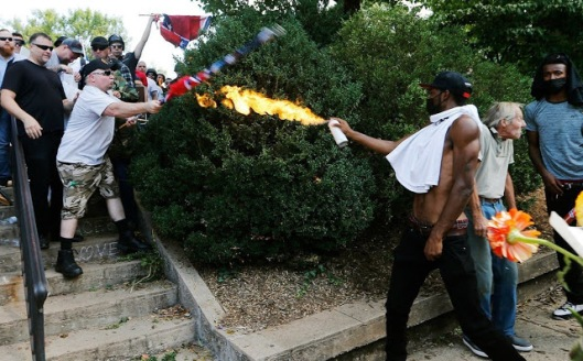 Image result for image of someone using a flamethrower in Charlottesville Aug 2017
